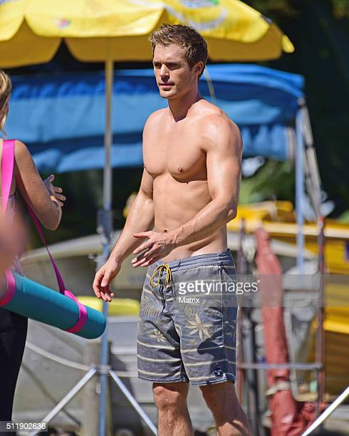 Kyle Pryor and costar Penny McNamee filming 'Home and Away' on February 24 2016 in Sydney Australia
