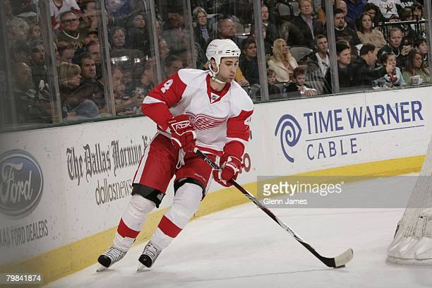 Kyle Quincey of the Detroit Red Wings skates against the Dallas Stars at the American Airlines Center on February 17, 2008 in Dallas, Texas.