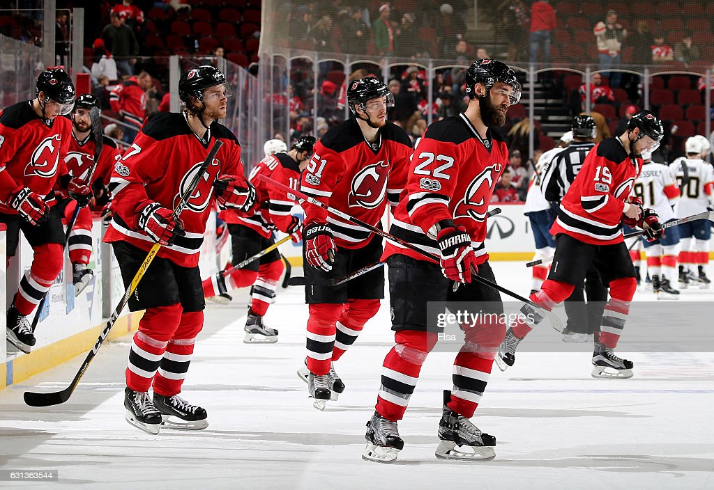 Kyle Quincey #22 of the New Jersey Devils and the rest of the team head to the locker room after the loss to the Florida Panthers on January 9, 2017 at Prudential Center in Newark, New Jersey.The Florida Panthers defeated the New Jersey Devils 3-0.