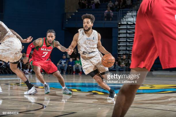 Kyle Randall of the Delaware 87ers handles the ball against the Maine Red Claws during a GLeague game on March 13 2018 at the Bob Carpenter Center in...