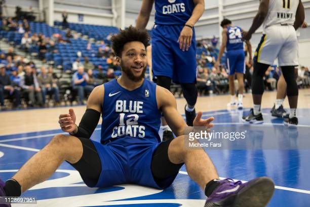 Kyle Randall of the Delaware Blue Coats celebrates during a game against the Fort Wayne Mad Ants during an NBA GLeague game on March 4 2019 at 76ers...