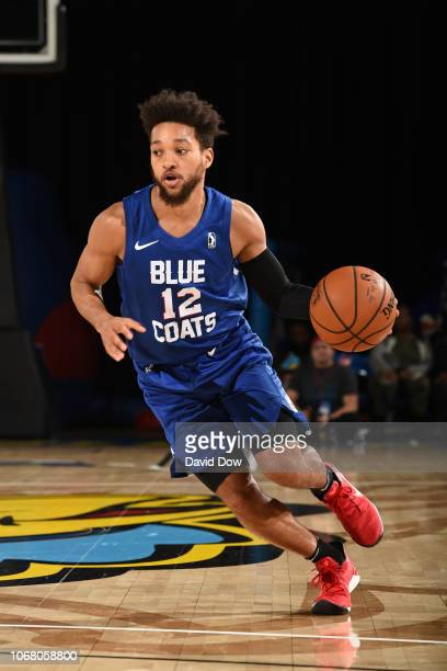 Kyle Randall of the Delaware Blue Coats drives to the basket against the Westchester Knicks during an NBA GLeague game at the Bob Carpenter Center in...
