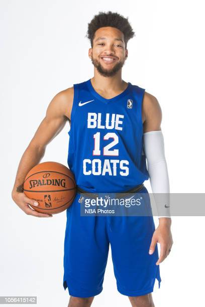 Kyle Randall of the Delaware Blue Coats poses for a portrait during NBA GLeague media day on October 31 2018 at the Delaware Tech Collage in Newark...