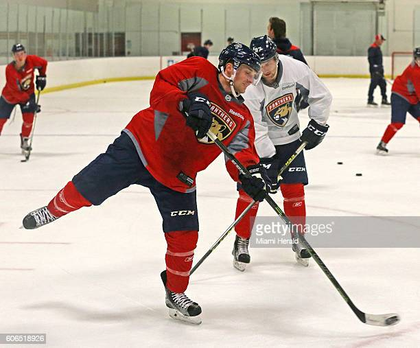 Kyle Rau takes a shot at the net at the Florida Panthers' open rookie camp in Coral Springs, Fla., on Friday, Sept. 16, 2016.