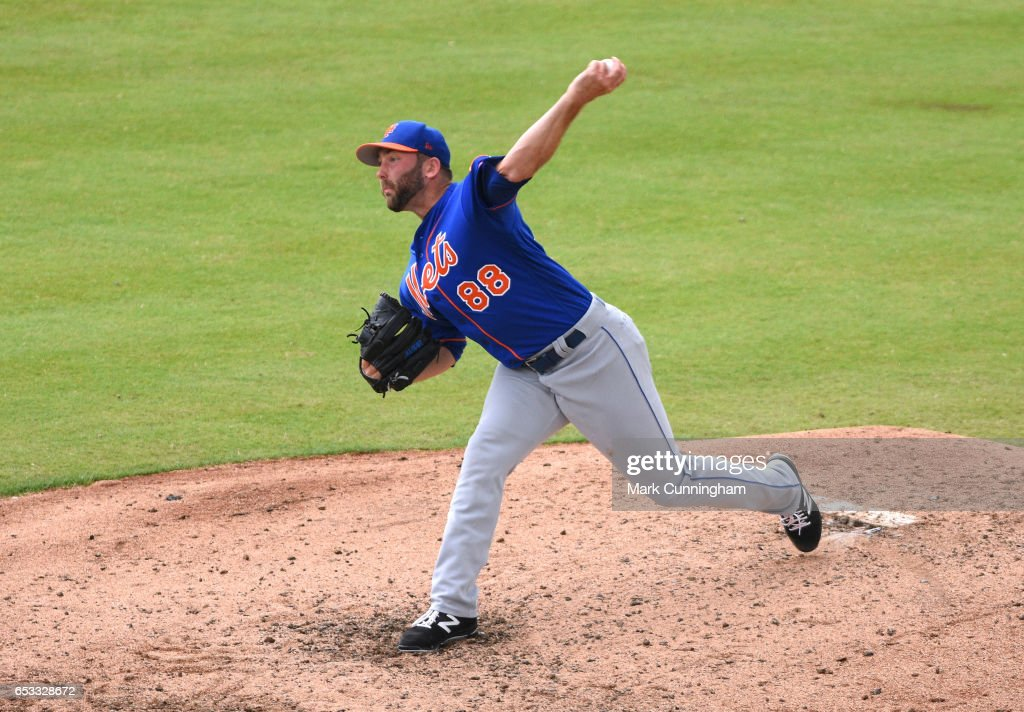 Kyle Regnault #88 of the New York Mets pitches during the Spring Training game against the Detroit Tigers at Publix Field at Joker Marchant Stadium on March 12, 2017 in Lakeland, Florida. The Tigers defeated the Mets 4-3.