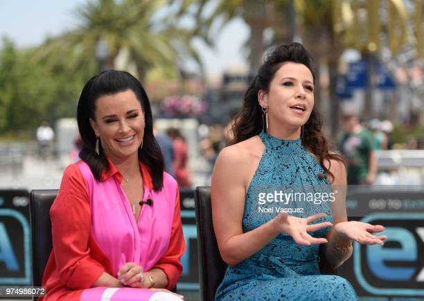 Kyle Richards and Jennifer Bartels visits Extra at Universal Studios Hollywood on June 14 2018 in Universal City California