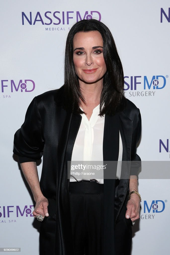Kyle Richards arrives for Dr. Paul Nassif's unveiling of his new medical spa with grand opening and ribbon-cutting ceremony at Nassif MD & Medical Spa on March 7, 2018 in Beverly Hills, California.
