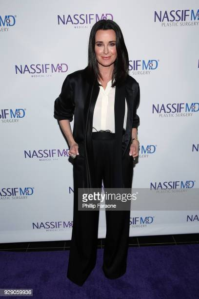 Kyle Richards arrives for Dr Paul Nassif's unveiling of his new medical spa with grand opening and ribboncutting ceremony at Nassif MD Medical Spa on...