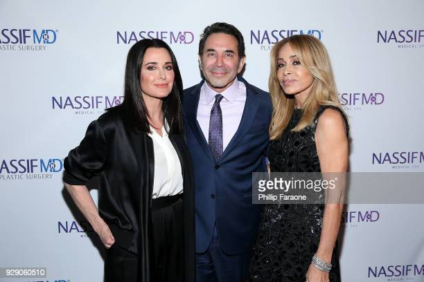 Kyle Richards Dr Paul Nassif and Faye Resnick arrive for Dr Paul Nassif's unveiling of his new medical spa with grand opening and ribboncutting...