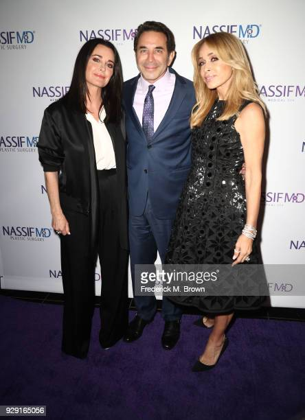 Kyle Richards Dr Paul Nassif and Faye Resnick arrive for Dr Paul Nassif unveils his new medical spa with grand opening and ribbon cutting ceremony on...
