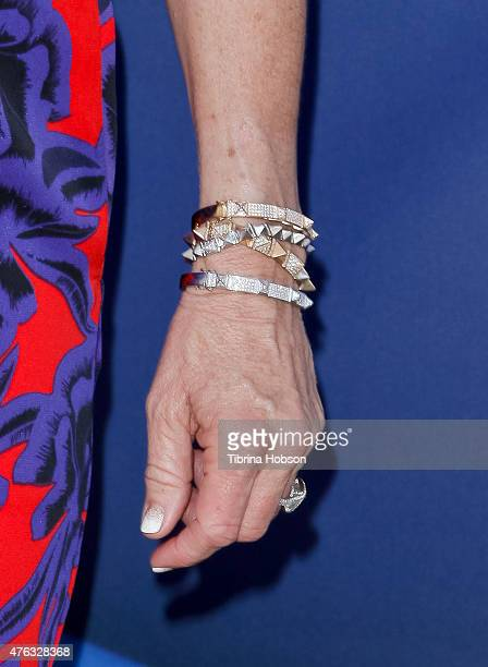 Kyle Richards fashion detail attends 'Matilda The Musical' opening night at Ahmanson Theatre on June 7 2015 in Los Angeles California