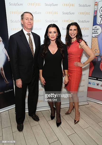 Kyle Richards poses with Plastic Surgeons Dr Lawrence Bass and Dr Jennifer Levine at the SculpSure launch event at Trump SoHo on January 21 2016 in...