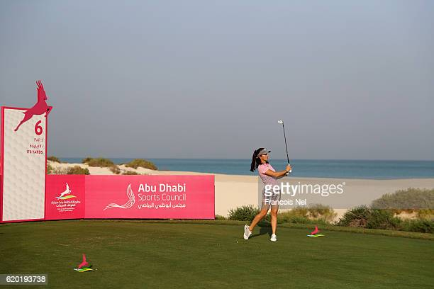 Kyle Roig of the USA tees off on the the 6th hole during the first round of the Fatima Bint Mubarak Ladies Open at Saadiyat Beach Golf Club on...