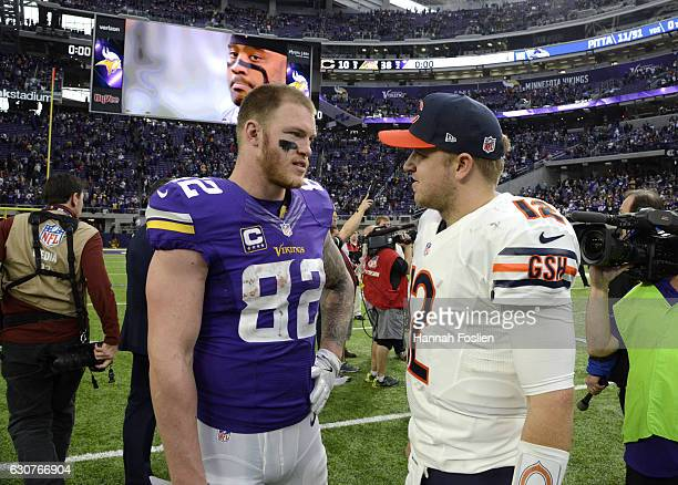 Kyle Rudolph of the Minnesota Vikings and Matt Barkley of the Chicago Bears speak after the game on January 1 2017 at US Bank Stadium in Minneapolis...