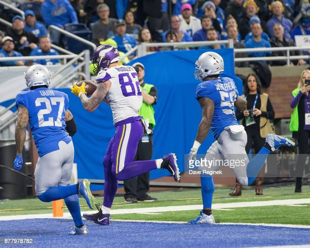 Kyle Rudolph of the Minnesota Vikings catches a second half touchdown against the Detroit Lions during an NFL game at Ford Field on November 23 2016...