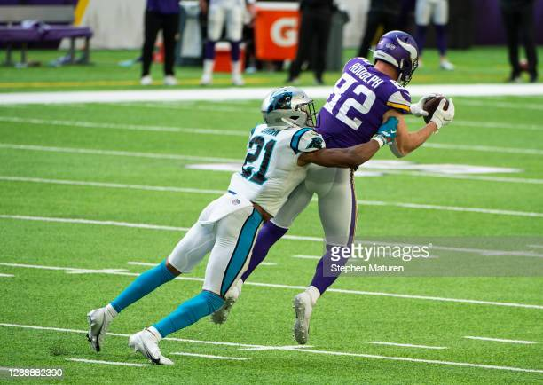Kyle Rudolph of the Minnesota Vikings catches the ball in the second quarter of the game against the Carolina Panthers at U.S. Bank Stadium on...