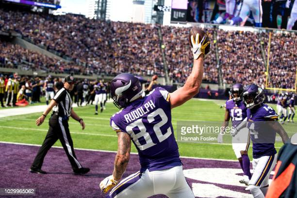 Kyle Rudolph of the Minnesota Vikings celebrates after catching a touchdown pass in the third quarter of the game against the San Francisco 49ers at...