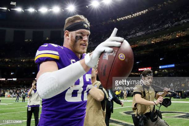 Kyle Rudolph of the Minnesota Vikings celebrates after defeating the New Orleans Saints 26-20 during overtime in the NFC Wild Card Playoff game at...