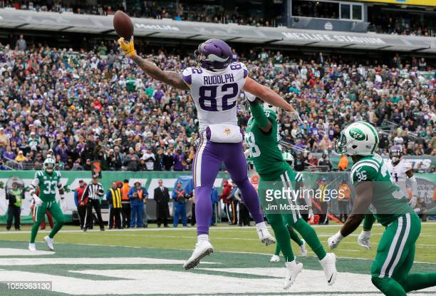 Kyle Rudolph of the Minnesota Vikings in action against the New York Jets on October 21 2018 at MetLife Stadium in East Rutherford New Jersey The...