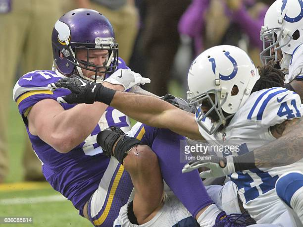 Kyle Rudolph of the Minnesota Vikings makes a catch during an NFL game against the Indianapolis Colts at US Bank Stadium on December 18 2016 in...
