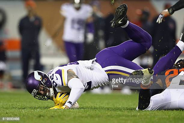 Kyle Rudolph of the Minnesota Vikings makes a reception during the third quarter against the Chicago Bears at Soldier Field on October 31 2016 in...
