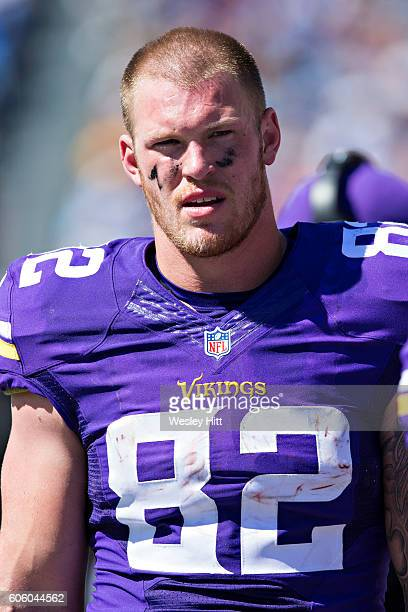 Kyle Rudolph of the Minnesota Vikings on the sidelines during a game against the Tennessee Titans at Nissan Stadium on September 11 2016 in Nashville...