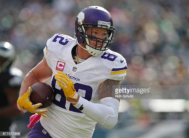 Kyle Rudolph of the Minnesota Vikings runs after a catch for a first down during the second quarter of a game against the Philadelphia Eagles at...