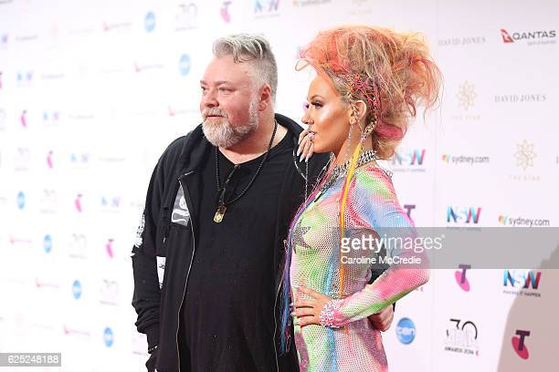 Kyle Sandilands and Imogen Anthony arrive for the 30th Annual ARIA Awards 2016 at The Star on November 23 2016 in Sydney Australia