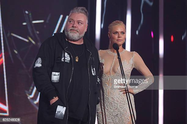 Kyle Sandilands and Sophie Monk present on stage during the 30th Annual ARIA Awards 2016 at The Star on November 23 2016 in Sydney Australia