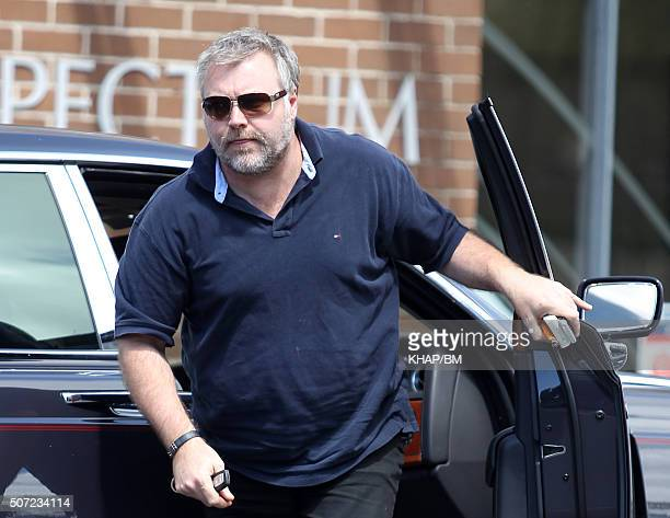 Kyle Sandilands pictured getting out of his car as he arrives for a lunch with Brian McFadden on February 16 2012 in Sydney Australia