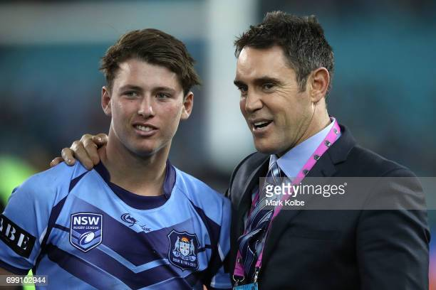 Kyle Schneider of the Blues talks to Brad Fittler after the U18s State of Origin between the New South Wales Blues and the Queensland Maroons at ANZ...