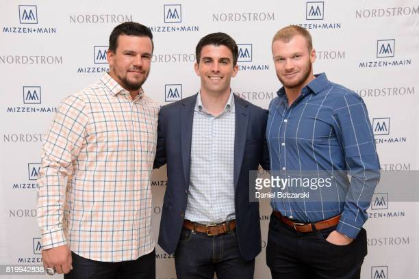 Kyle Schwarber Mizzen Main CEO Kevin Lavelle and Ian Happ attend Kyle Schwarber Ian Happ for MizzenMain at Nordstrom Old Orchard on July 20 2017 in...