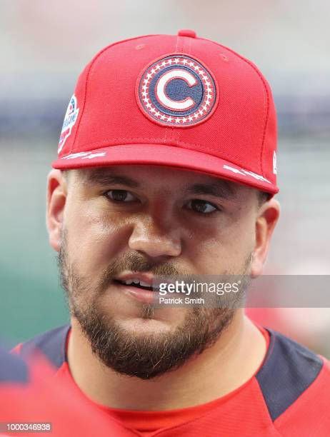 Kyle Schwarber of the Chicago Cubs and National League looks on during Gatorade AllStar Workout Day at Nationals Park on July 16 2018 in Washington DC