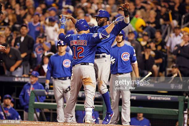 Kyle Schwarber of the Chicago Cubs celebrates with Dexter Fowler of the Chicago Cubs after hitting a tworun home run in the third inning during the...