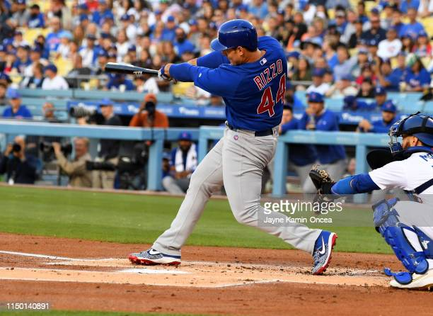 Kyle Schwarber of the Chicago Cubs hits a two run home run in the first inning of the game against the Los Angeles Dodgers at Dodger Stadium on June...
