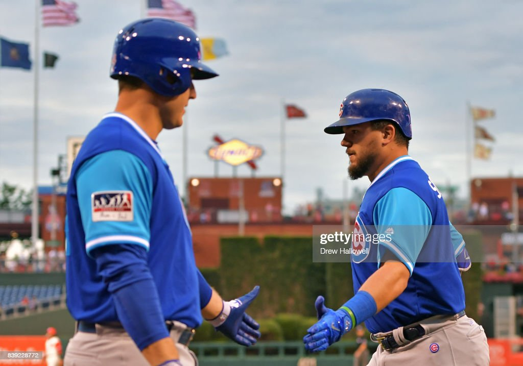 Kyle Schwarber #12 of the Chicago Cubs is congratulated by teammate Anthony Rizzo #44 of the Chicago Cubs after hitting a home run in the first inning against the Philadelphia Phillies at Citizens Bank Park on August 25, 2017 in Philadelphia, Pennsylvania.