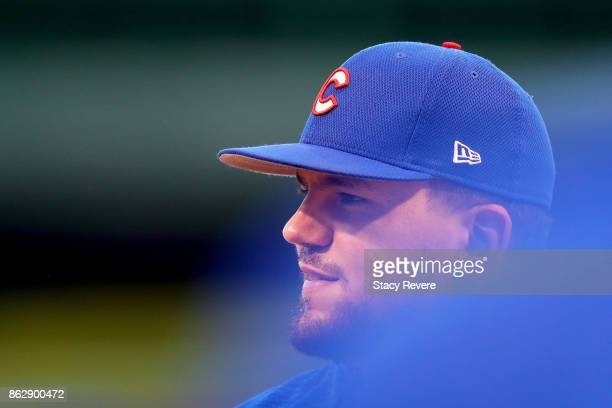 Kyle Schwarber of the Chicago Cubs looks on before game four of the National League Championship Series against the Los Angeles Dodgers at Wrigley...