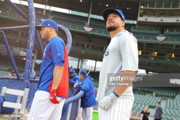 Kyle Schwarber of the Chicago Cubs looks on before the National League Wild Card game against the Colorado Rockies at Wrigley Field on Tuesday,...
