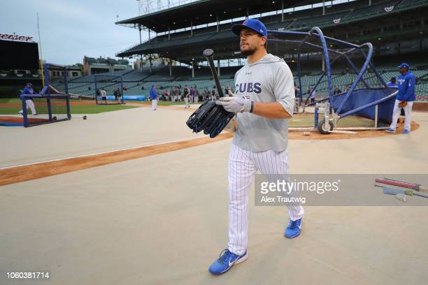 Kyle Schwarber of the Chicago Cubs looks on before the National League Wild Card game against the Colorado Rockies at Wrigley Field on Tuesday...