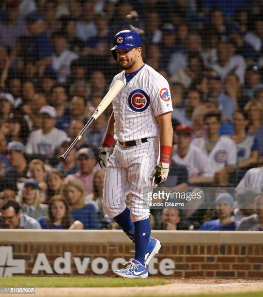 Kyle Schwarber of the Chicago Cubs reacts after striking out during the sixth inning against the Philadelphia Phillies at Wrigley Field on May 22...