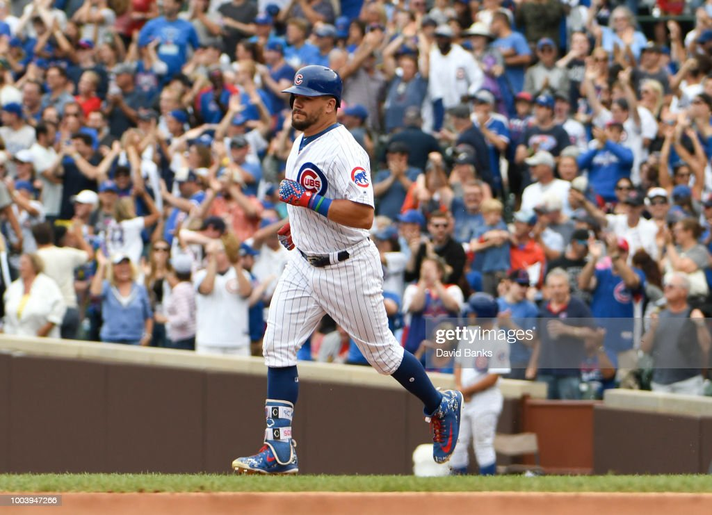 Kyle Schwarber #12 of the Chicago Cubs runs the bases after hitting a home run against theSt. Louis Cardinals during the sixth inning on July 22, 2018 at Wrigley Field in Chicago, Illinois.