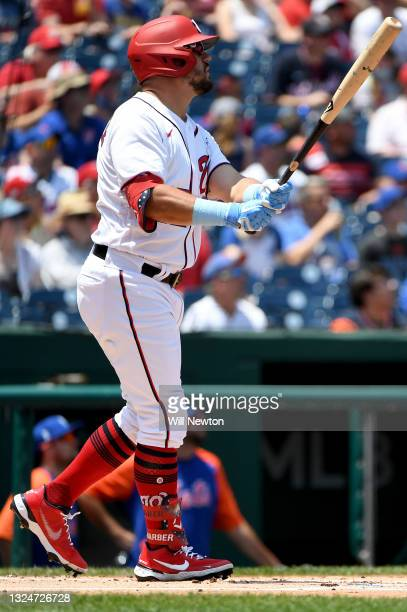 Kyle Schwarber of the Washington Nationals hits a home run against the New York Mets during the first inning at Nationals Park on June 20, 2021 in...