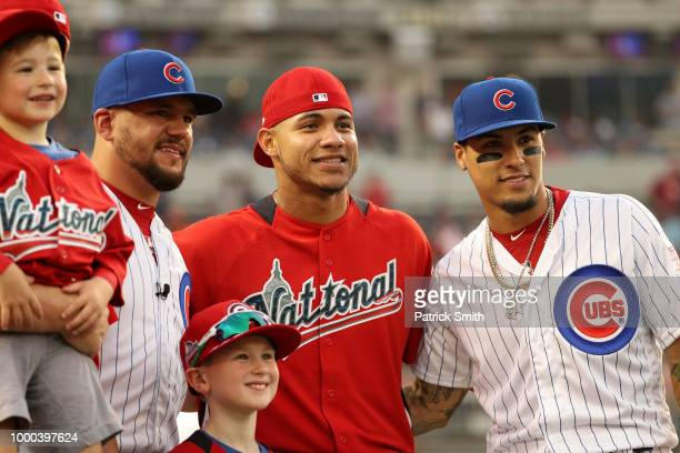 Kyle Schwarber Willson Contreras and Javier Baez of the Chicago Cubs and the National League pose during the TMobile Home Run Derby at Nationals Park...