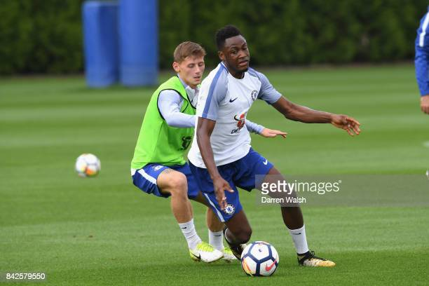 Kyle Scott and Baba Rahman of Chelsea during a training session at Chelsea Training Ground on September 4 2017 in Cobham England