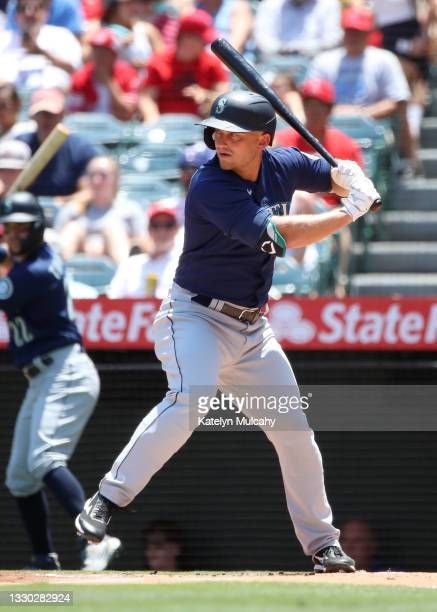 Kyle Seager of the Seattle Mariners at bat during the first inning against the Los Angeles Angels at Angel Stadium of Anaheim on July 18, 2021 in...