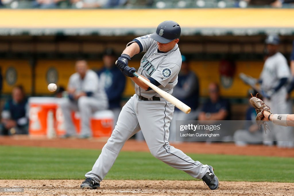 Kyle Seager #15 of the Seattle Mariners at bat in the fifth inning against the Oakland Athletics at Oakland Alameda Coliseum on August 9, 2017 in Oakland, California.