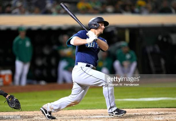 Kyle Seager of the Seattle Mariners bats against the Oakland Athletics in the top of the seventh inning at RingCentral Coliseum on September 21, 2021...