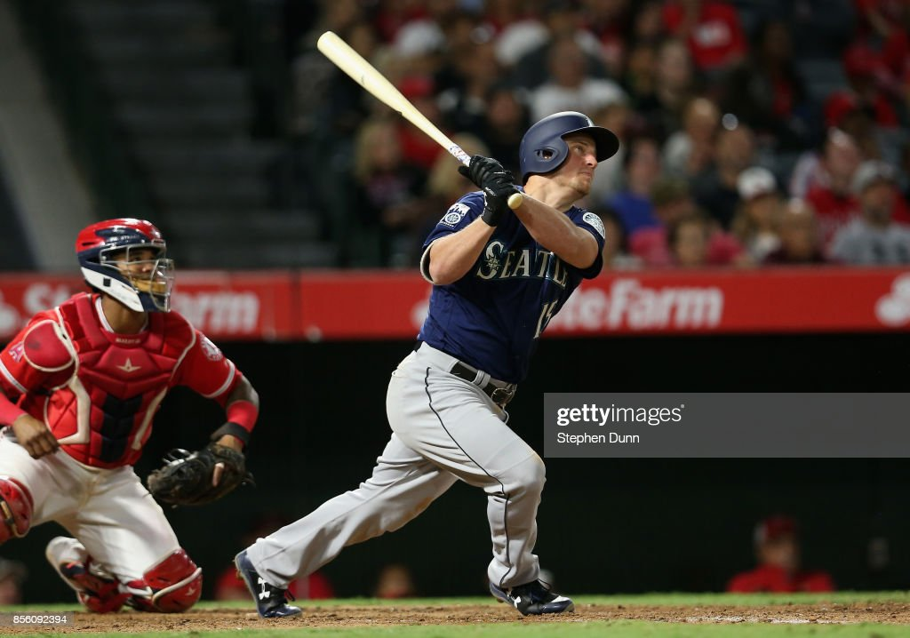 Kyle Seager #15 of the Seattle Mariners hits a three run home run in the eighth inning to give the Mariners the lead against the Los Angeles Angels of Anaheim on September 30, 2017 at Angel Stadium of Anaheim in Anaheim, California.