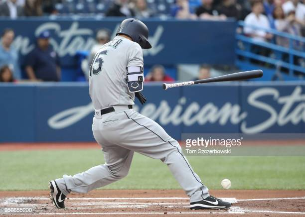 Kyle Seager of the Seattle Mariners is hit a pitch in the first inning during MLB game action against the Toronto Blue Jays at Rogers Centre on May 9...
