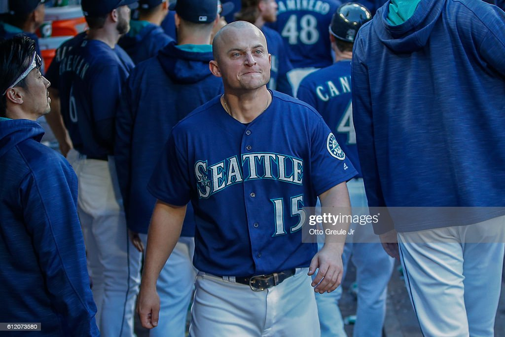 Kyle Seager #15 of the Seattle Mariners looks on from the dugout as the game against the Oakland Athletics ends at Safeco Field on October 2, 2016 in Seattle, Washington. The Athletics defeated the Mariners 3-2.